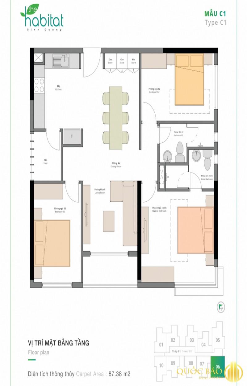 Thiết kế mặt bằng căn hộ 3 phòng ngủ điển hình