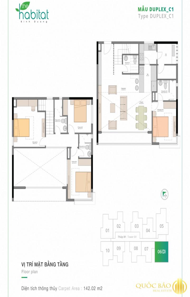 Thiết kế mặt bằng căn hộ Duplex điển hình