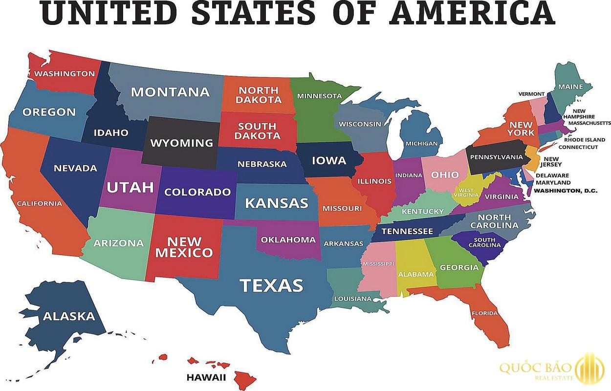 Tổng thẻ bản đồ nước Mỹ và 50 tiểu bang hợp nhất.