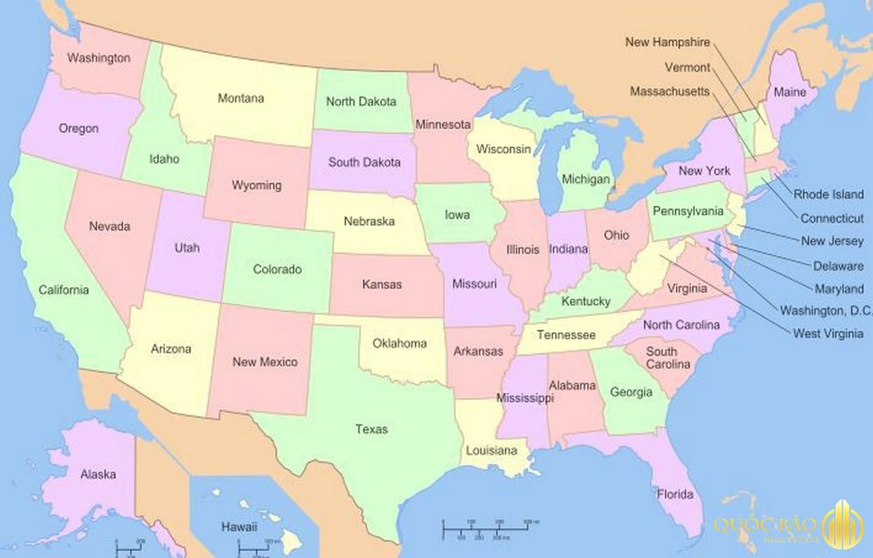 Bản đồ nước Mỹ tổng hợp vị trí 50 bang