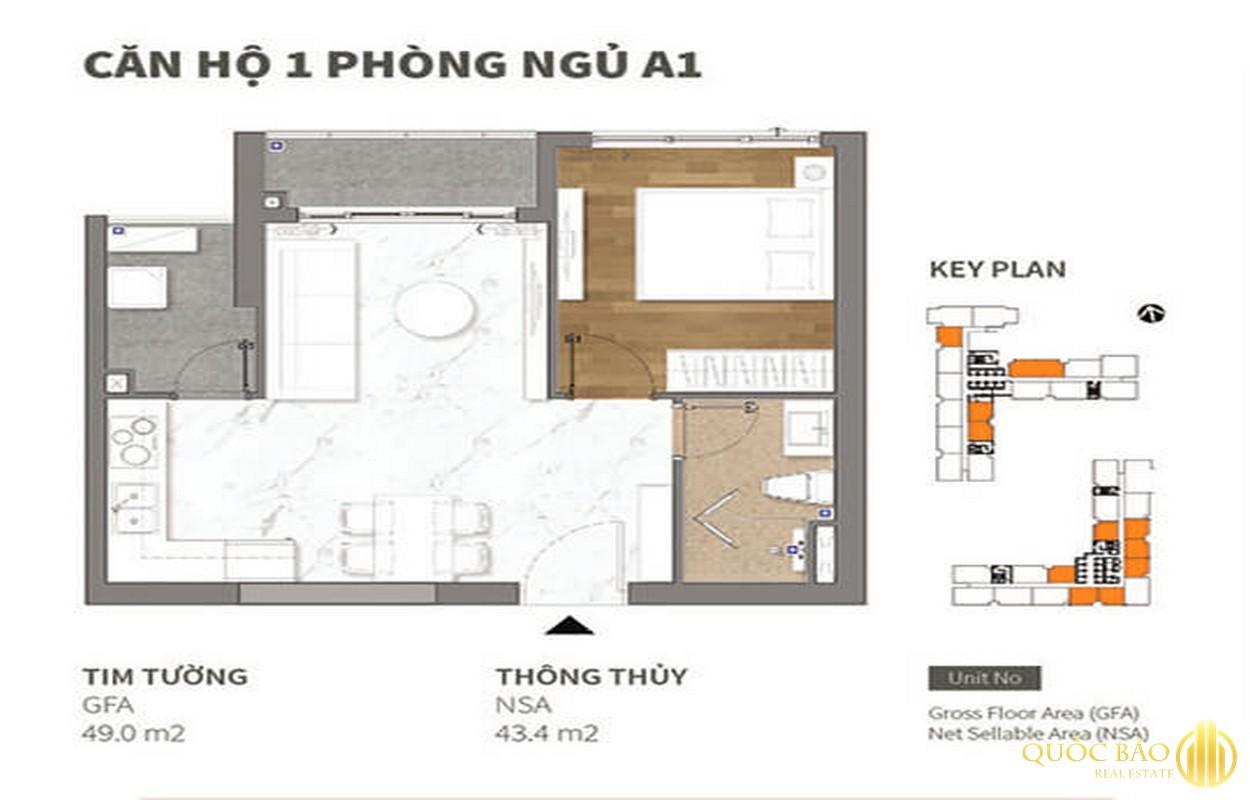 Thiết kế căn hộ 01 phòng ngủ Happy One Central Bình Dương