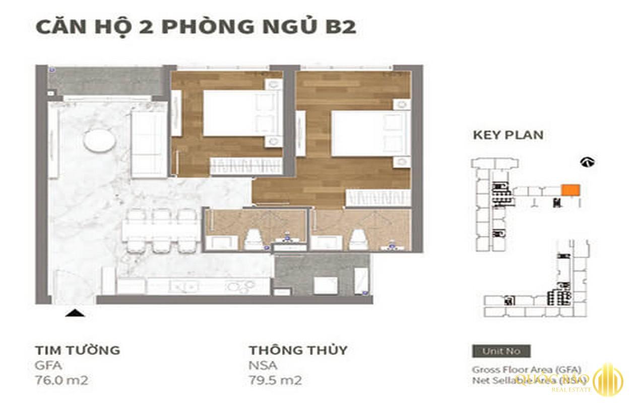 Thiết kế căn hộ 02 phòng ngủ Happy One Central Bình Dương