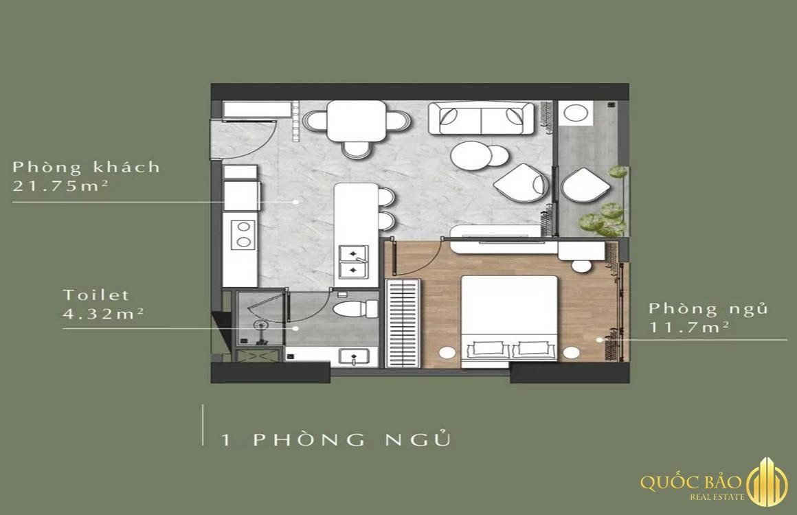 Thiết kế mặt bằng căn hộ 1 phòng ngủ Lavita Thuận An Bình Dương