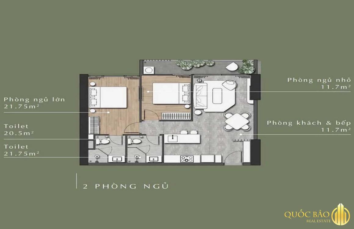 Thiết kế mặt bằng căn hộ 2 phòng ngủ Lavita Thuận An Bình Dương