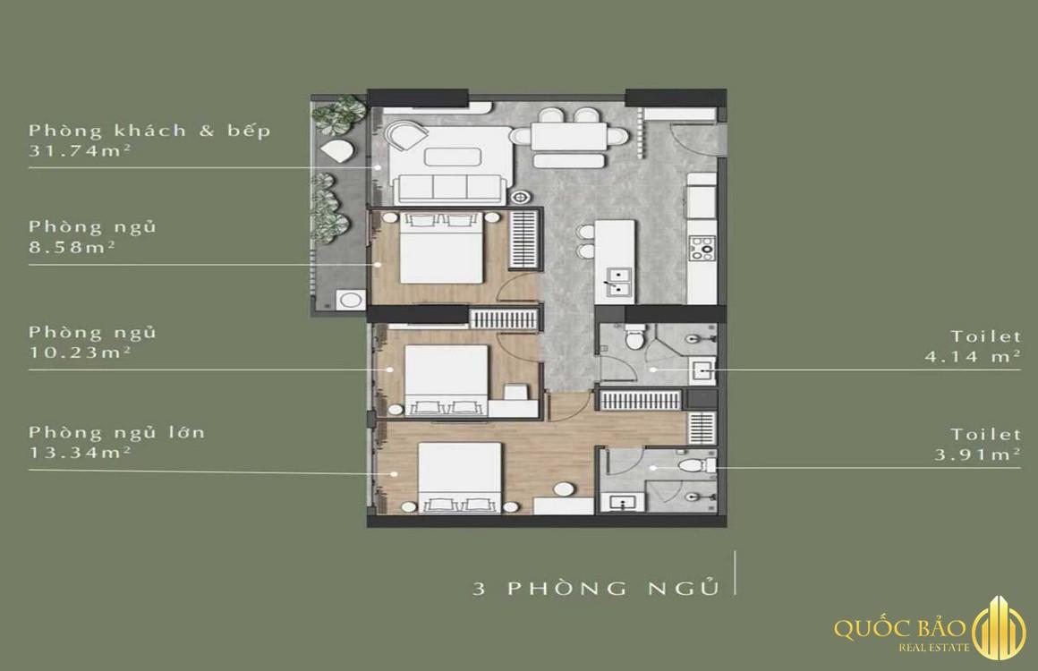 Thiết kế mặt bằng căn hộ 3 phòng ngủ Lavita Thuận An Bình Dương