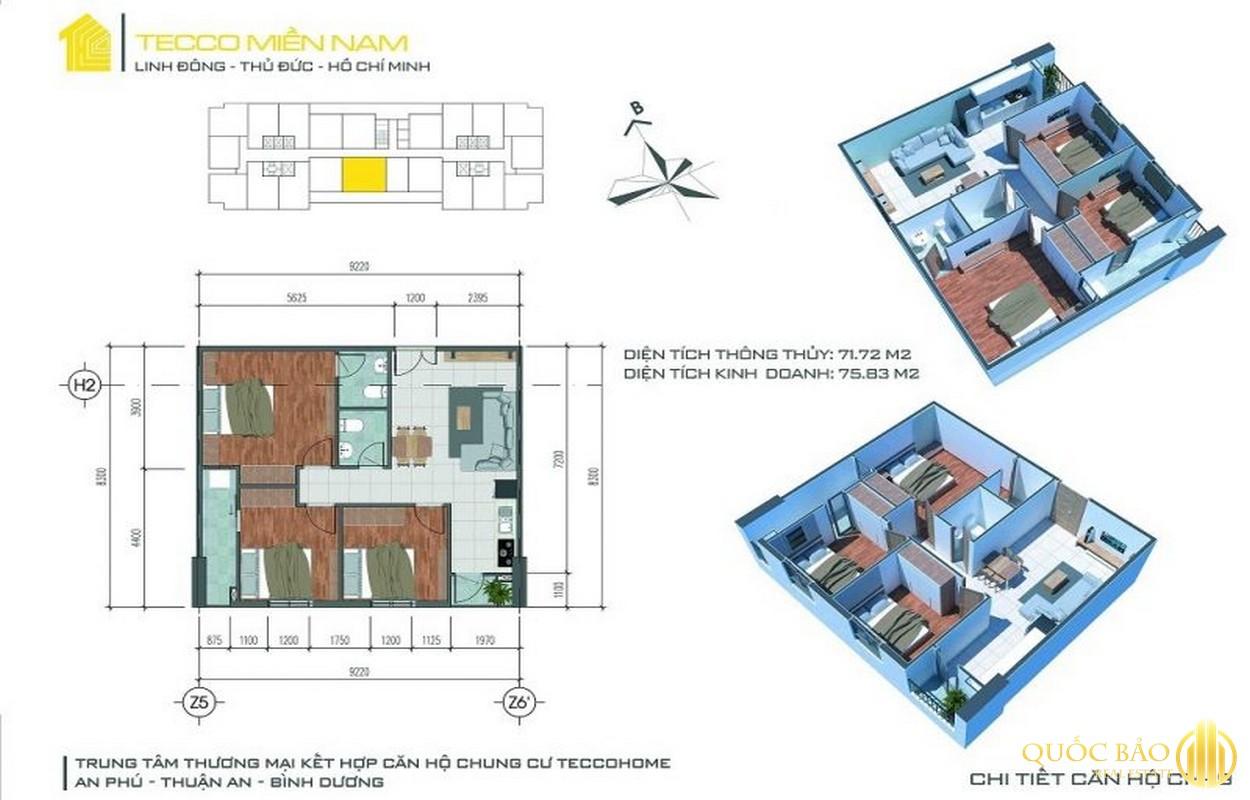 Thiết kế căn hộ 03 phòng ngủ Tecco Home Bình Dương
