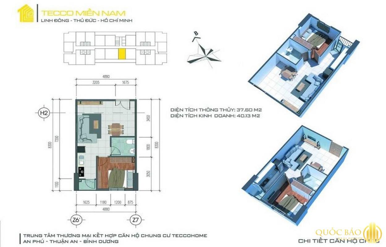 Thiết kế căn hộ 1 phòng ngủ Tecco Home Bình Dương