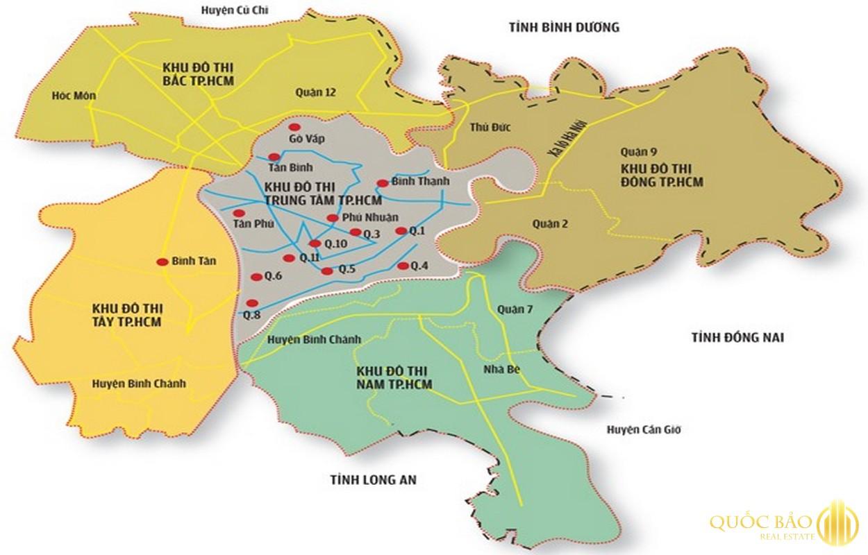 Bản đồ tiếp giáp quận 9 với các quận khác