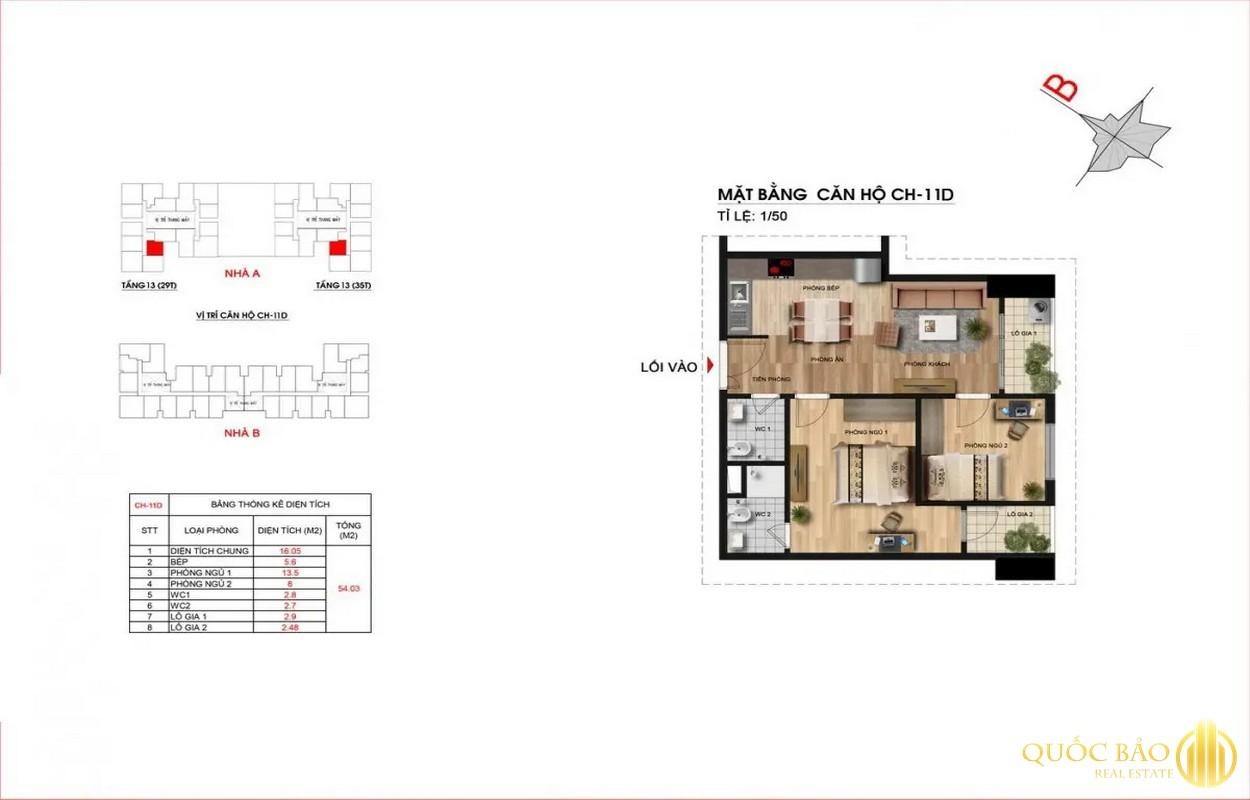 Thiết kế căn hộ 2 PN