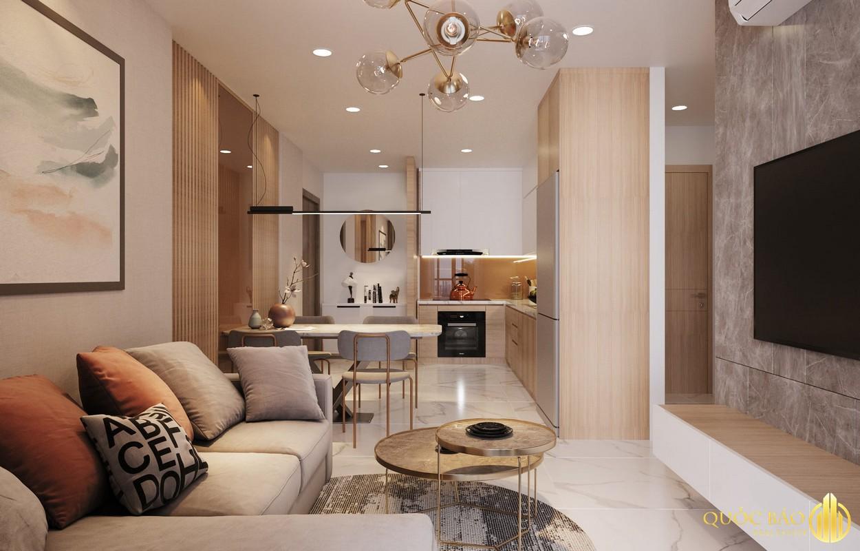 Phòng khách nhà mẫu dự án HT Pearl