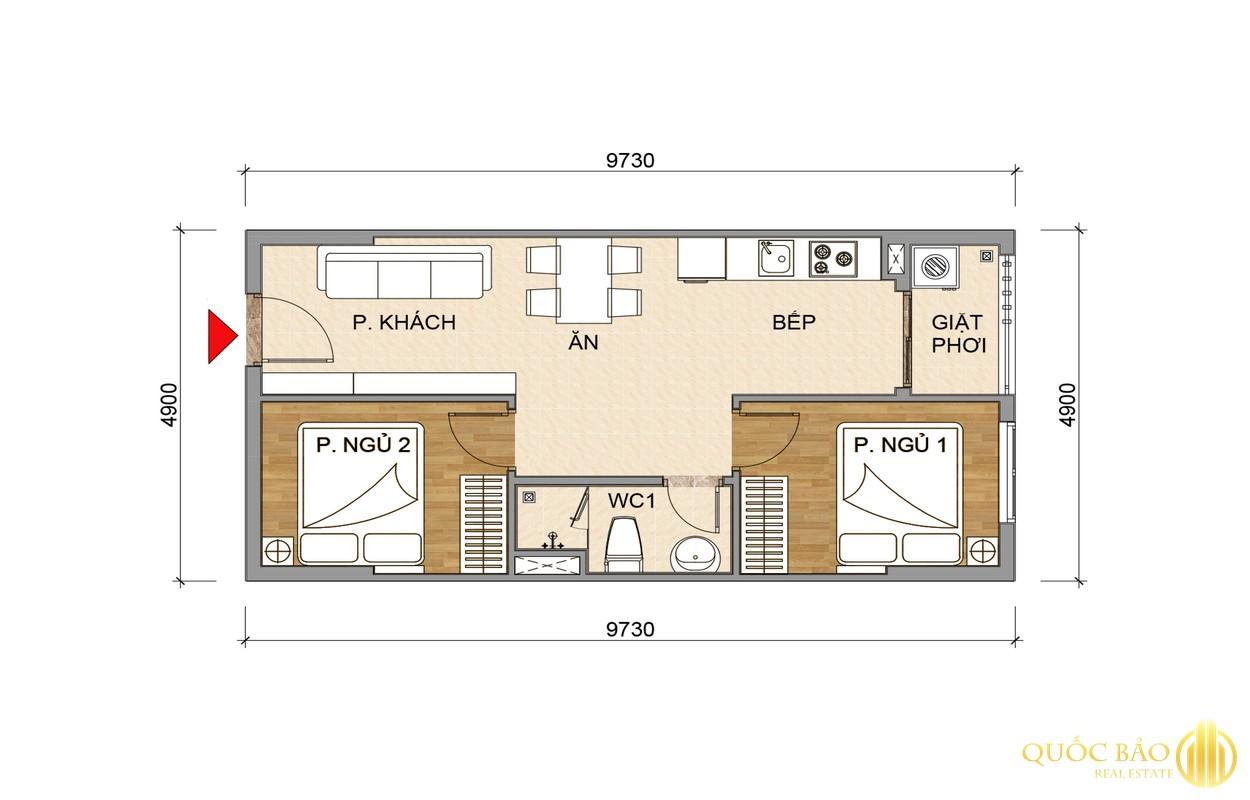 Mặt bằng căn hộ 2 PN