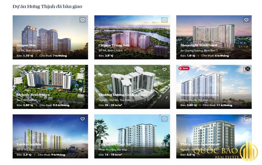 Các dự án nổi bật của Công ty Cổ phần đầu tư kinh doanh địa ốc Hưng Thịnh