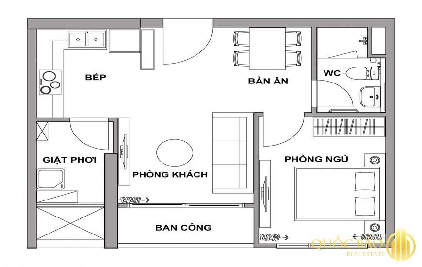 Mặt bằng Honas Residence căn hộ 1 PN