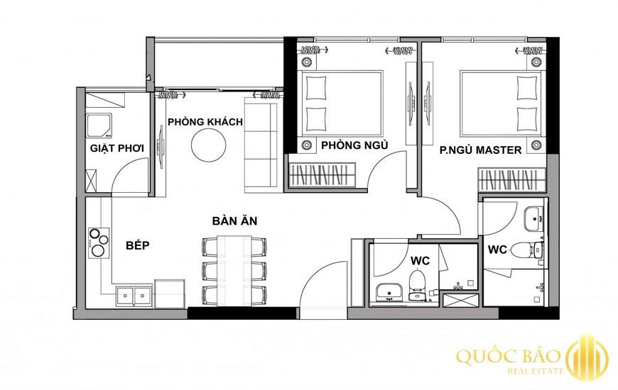 Mặt bằng Honas Residence căn hộ 2 PN