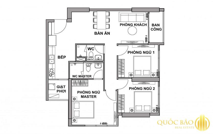 Mặt bằng Honas Residence căn hộ 3 PN