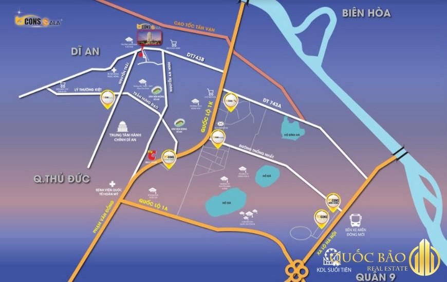 Vị trí Dự án Bcons Sala