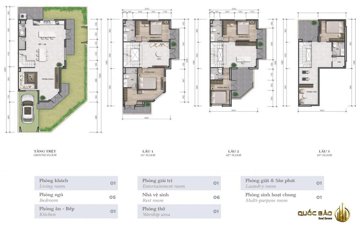 Thiết kế mặt bằng biệt thự Armena Khang Điền Quận 9