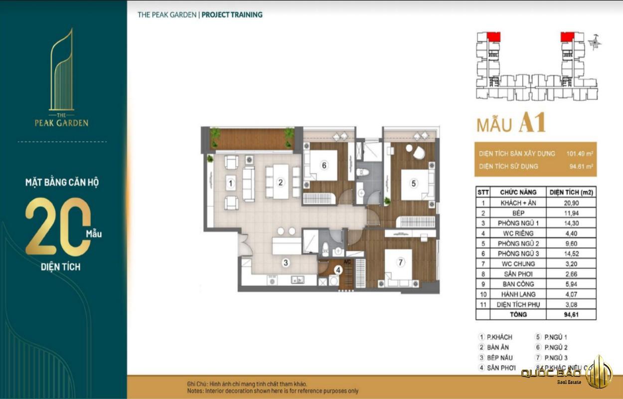 Mặt bằng căn hộ 3 phòng ngủ dự án The Peak Garden Quận 7