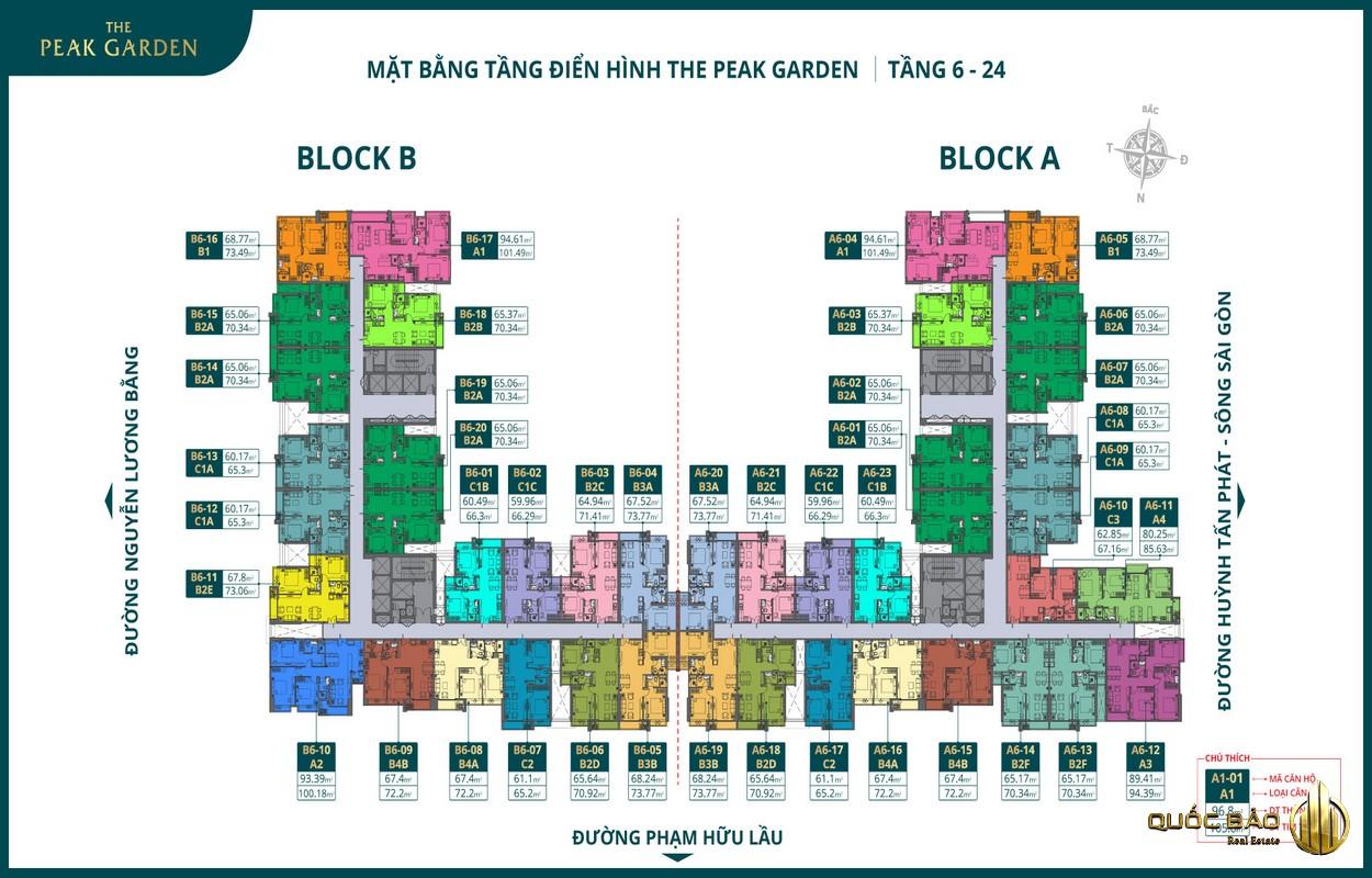 Mặt bằng tầng căn hộ 6-24 dự án The Peak Garden Quận 7