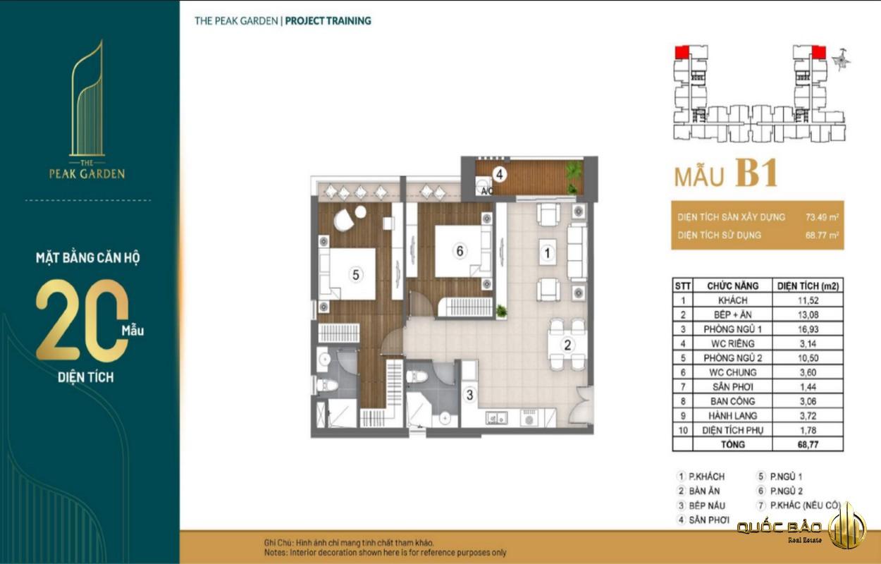 Mặt bằng căn hộ 2 phòng ngủ dự án The Peak Garden Quận 7